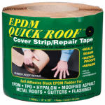 Cofair Products BRQR525 EPDM Roof Cover Strip, Self-Adhesive, Black EPDM, 5-In. x 25-Ft.