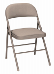 Cosco 14-995-ALC4 Antique Sand Premium Metal Folding Chair - Must Be Purchased in Quantities of 4
