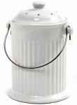 Norpro 93 White Ceramic Counter Top Compost Keeper, Gallon