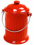 Norpro 93R Red Ceramic Counter Top Compost Keeper, Gallon