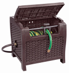 Suncast PTW175 Slide Trak Hideaway Hose Reel, Brown Resin Wicker, 175-Ft.