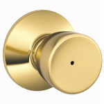 Schlage Lock F40V BEL 605 Bell-Design Bright Brass Privacy Lockset