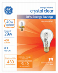 G E Lighting 78795 Halogen Light Bulbs, A19, Clear, 29-Watt, 2-Pk.