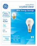 G E Lighting 78796 2-Pack 43-Watt Clear Halogen Light Bulbs