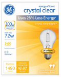 G E Lighting 78798 2-Pack 72-Watt Clear Halogen Light Bulbs