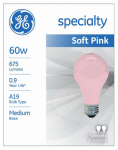 G E Lighting 97483 Incandescent Light Bulb, Soft Pink, 60W, 2-Pk.