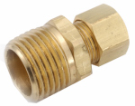 Anderson Metals 750068-0406 Pipe Fitting, Connector, Lead-Free Brass, 1/4 Compression x 3/8-In. MPT