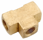 Anderson Metals 756101-02 Pipe Fitting, Brass Tee, Lead-Free, 1/8-In.