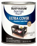 Rust-Oleum 1974-502 Semi-Gloss Premium Latex Paint, Black, 1-Qt.