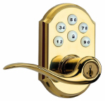 Kwikset 911 TNL L03 Tustin Entry Lever Locket, With Smartkey & Smartcode Keypad, Brass