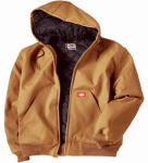 Williamson Dickie Mfg TJ718BDXL Duck Jacket, Hooded, Brown, Men's XL