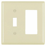 Pass & Seymour SP126IU Ivory 1-Toggle & 1 Decorator Opening Urea Wall Plate