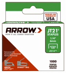 Arrow Fastener 214 Staples, JT-21, .25-In., 1000-Pk.