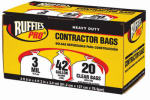 Berry Global 1190273 Contractor Bags, Clear, 42-Gal., 20-Pk.