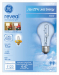 G E Lighting 62618 Reveal  72-Watt A-Line Halogen  Bulbs, 2-Pack