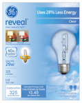 G E Lighting 62607 Reveal 29-Watt A-Line Halogen  Bulbs, 2-Pack