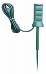 Kab Enterprise SP-049 Outdoor Power Stake, 3-Outlet, Green, 6-Ft. Cord