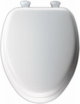 Bemis Mfg 113EC 000 Elongated Cushioned Vinyl Soft Toilet Seat, Easy-Clean & Change  Hinge, White