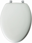 Bemis Mfg 144CP 000 Elongated Molded Wood Toilet Seat, Chrome Hinge, White