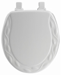 Bemis Mfg 34EC 000 Round Molded Wood Toilet Seat, Easy-Clean & Change  Hinge, STA-TITE , Ivory Design, White