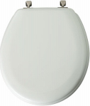 Bemis Mfg 44BN 000 Round Molded Wood Toilet Seat, Brushed-Nickel Hinge, White