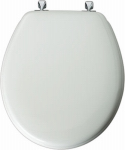 Bemis Mfg 44CP 000 Round Molded Wood Toilet Seat, Chrome Hinge, White