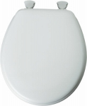 Bemis Mfg 44ECA 000 Round Molded Wood Toilet Seat, Easy-Clean & Change  Hinge, White