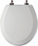 Bemis Mfg 44OR 000 Round Molded Wood Toilet Seat, Oil-Rubbed Bronze Hinge, White