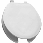 Bemis Mfg 75 000 Round Commercial Plastic Toilet Seat, Open Front,  White