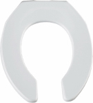 Bemis Mfg 955CT 000 Round Commercial Plastic Toilet Seat, Open Front, STA-TITE  Hinge, White