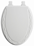 Bemis Mfg 134EC 000 Elongated Molded Wood Toilet Seat, Easy-Clean & Change  STA-TITE  Hinge, Ivory Design, White