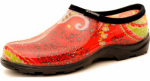 Principle Plastics 5104RD08 Women's Garden Shoe, Paisley Red Print Rubber, Size 8