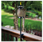 Lamplight Farms 1112155 Tiki 4-In-1 Citronella Torch, Resin Head With Stone Finish
