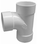 Genova Products 41130 Sewer & Drain Sanitary Tee, Hub x Hub x Hub, 3-In.