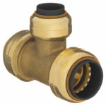 B&K 632-002 Push-On Tee With Pex Insert, Low Lead, 3/8 x 3/8 x 3/8-In. Copper