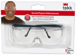 3M 90780-80025T Tekk Protection Safety Glasses, Black Frame/Clear Lens