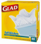 Clorox The 60034 Tall Kitchen Garbage Bags, White, 13-Gal., 80-Ct.