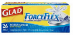 Clorox The 70403 Medium Garbage Bags, Force Flex, White, 8-Gal., 26-Ct.