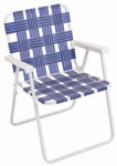 Rio Brands BY055-0138 Folding Web Chair, White Powder-Coated Steel Frame & Blue Webbing