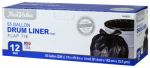 Berry Global 1221766 Drum Liner Trash Bags, Wing Tie, Black, 55-Gal., 12-Ct.
