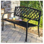 Imperial Power IP-SV131FB Lattice-Panel Patio/Garden Bench, Steel, 4-Ft.