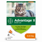 Bayer Animal Health 00724089202086 Advantage II For Small Cats, Orange, 4-Pk.