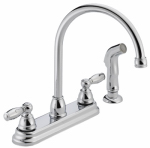 Delta Faucet P299575LF Kitchen Faucet, Arc, With Spray, Chrome, 2-Lever Handle