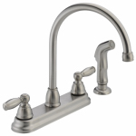 Delta Faucet P299575LF-SS Kitchen Faucet, Arc, With Spray, Stainless Steel, 2-Lever Handles