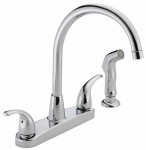 Delta Faucet P299578LF Kitchen Faucet, Arc, With Spray, Chrome, Neo-Style Handles
