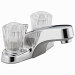 Delta Faucet P299621LF Bathroom Faucet, Chrome With 2 Acrylic Handles