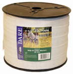 Dare Products 2576 Electric Fence Tape, White Poly & 15-Wire Stainless Steel, 1.5-In. x 656-Ft.