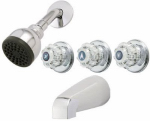 Homewerks Worldwide 10-B83WCHB Tub & Shower Faucet, Chrome, 3 Acrylic Handles