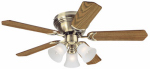 Westinghouse Fan & Lighting 78510 Contempra Trio Series Ceiling Fan, Antique Brass Finish, 5 Blades, 42-In.