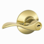 Schlage Lock F51VACC505 Bright Brass, Accent Design, Entry Lever Lockset